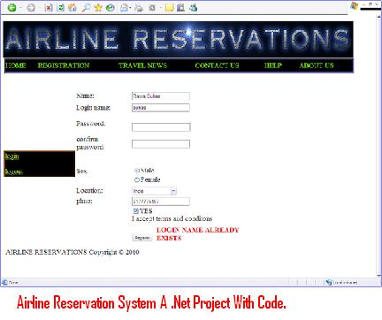 air ticket reservation system project
