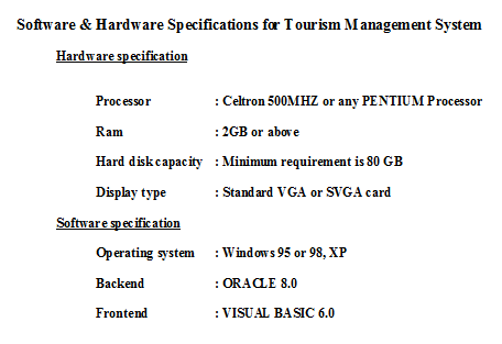 Software & Hardware Specifications for Tourism Management System