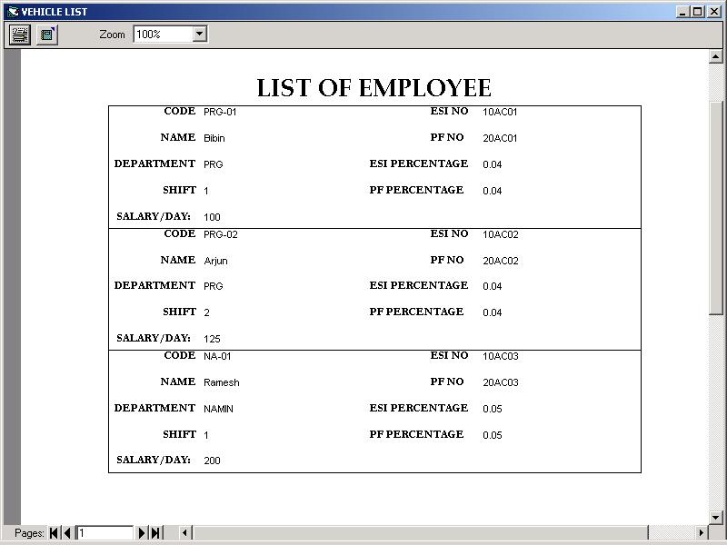 payroll management system engineering project screens and data    list of employee screen shot
