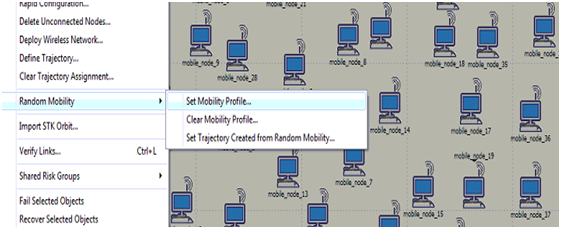 Procedure to set the mobility to all the mobile nodes