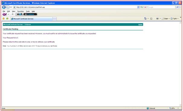 Requesting Certificate Step 1