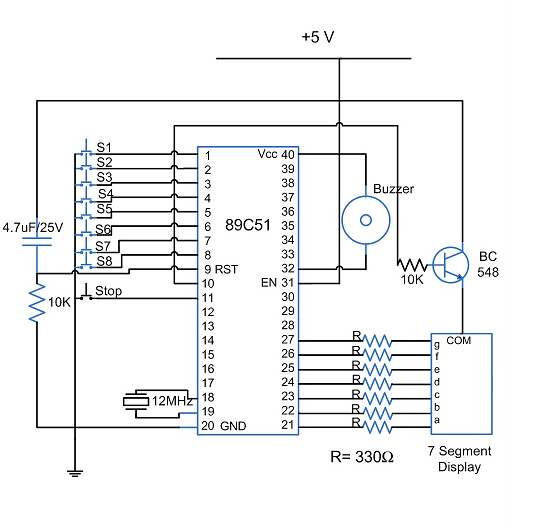 8 Candidate Quick Buzzer Using At89c51 Microcontroller
