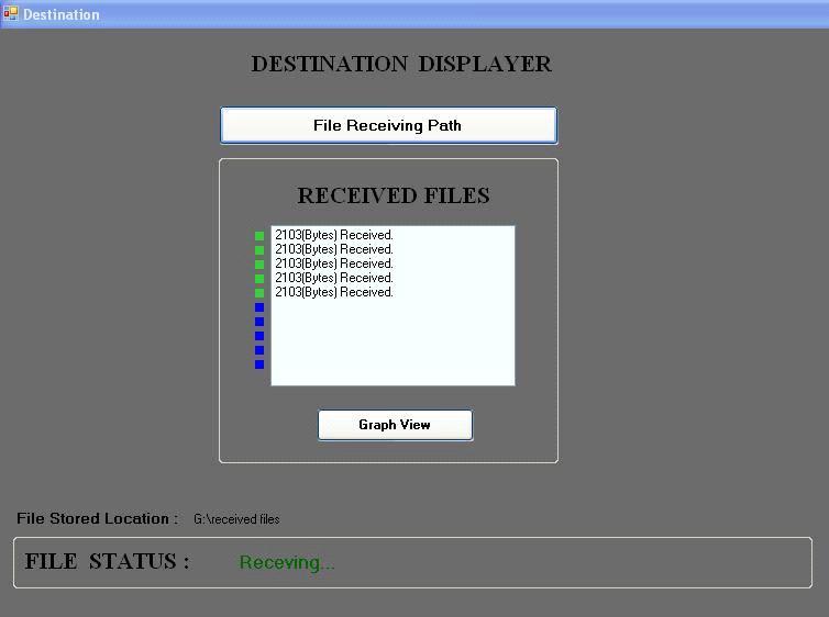 Destination displayer screen shows by selecting file receiving path