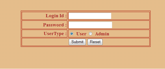 Login id and Password fields