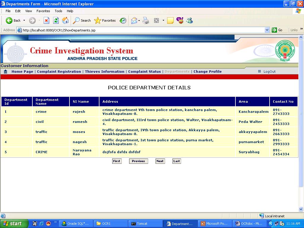 Department Details Screen
