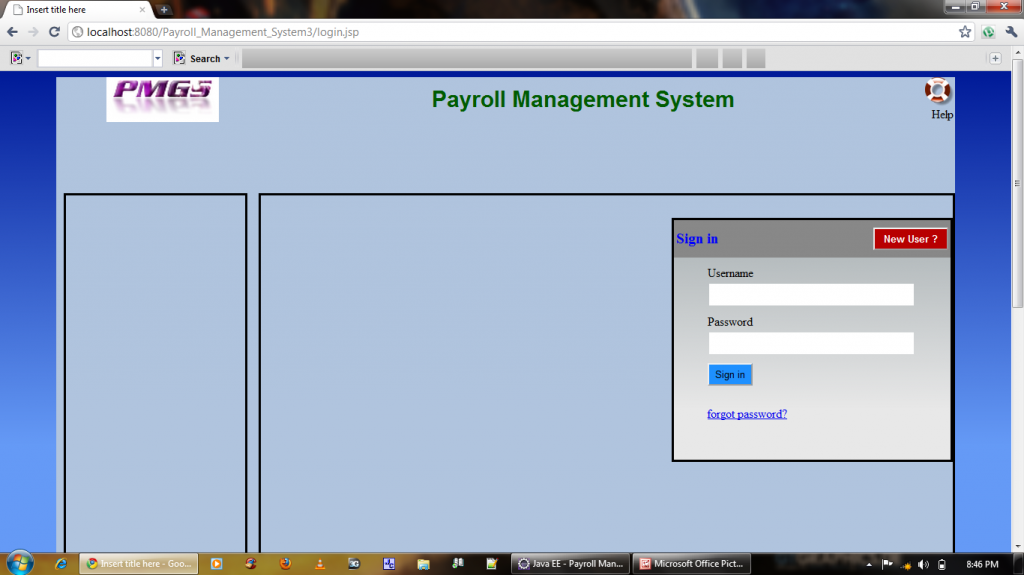 Payroll Management System Home Page