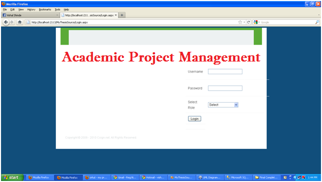 Academic Project Management login page