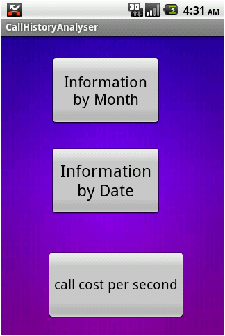 Call History Analyser Info by Month & date