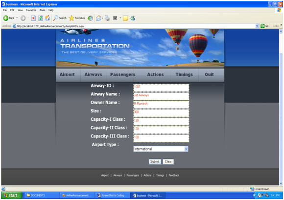 Flight Booking Portal Flight details