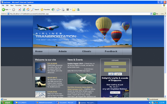 Flight Booking Portal Login Page