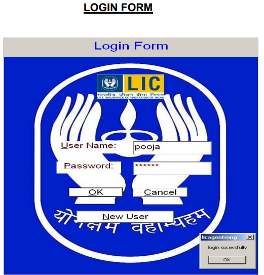 LIC Agent Management System Login Page