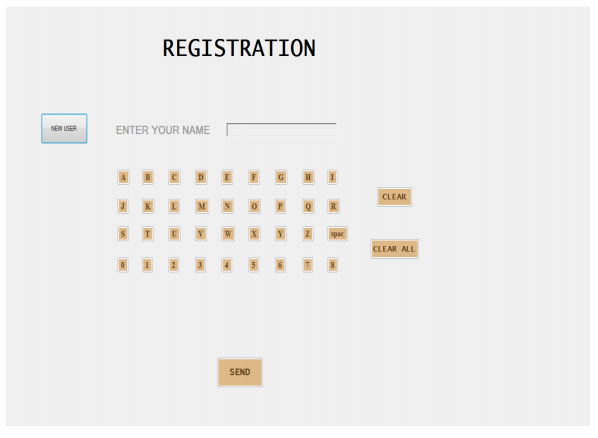 Registration Page on table terminal